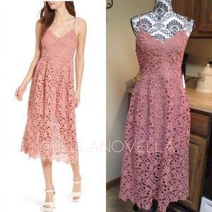 ASTR Blush Lace Midi Dress  NWT
